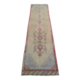 Distressed Oushak Rug Runner - Faded Colors Hallway Rug With Rare Size - 3'6″ X 13'3″ For Sale
