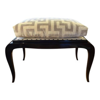 French Art Deco Black Lacquered Bench, 1930