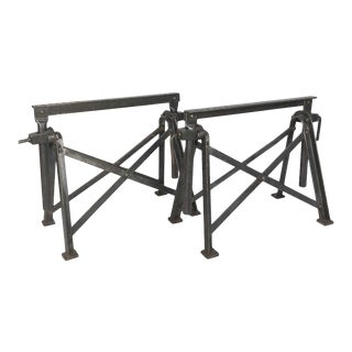 Strong Antique Industrial Steel Home Made Saw Horse Table Bases For Sale