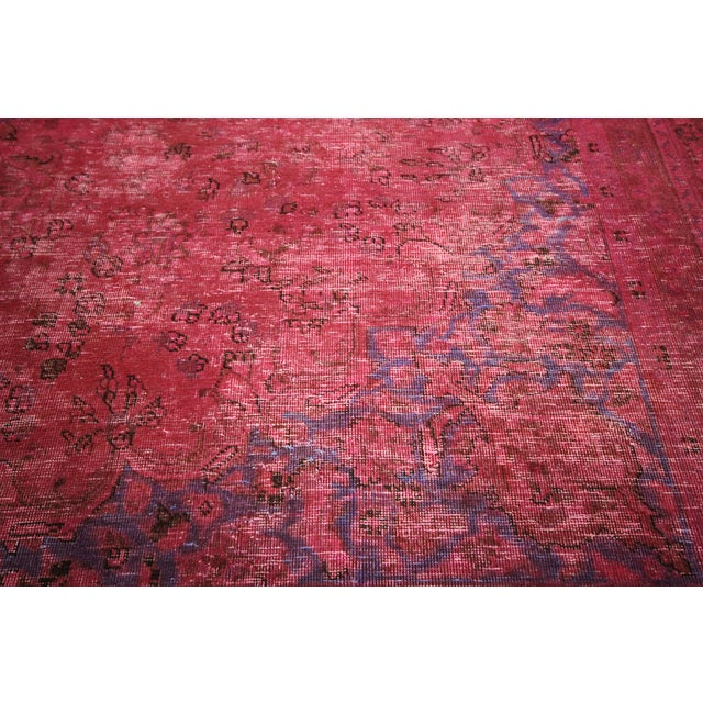 Pink Floral Overdyed Oriental Area Rug - 9' x 12' - Image 6 of 10