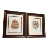Image of Vintage Original 1970's Bengal Tiger & African Lion Prints by Charles Frace in Modern Frames Signed - a Pair For Sale