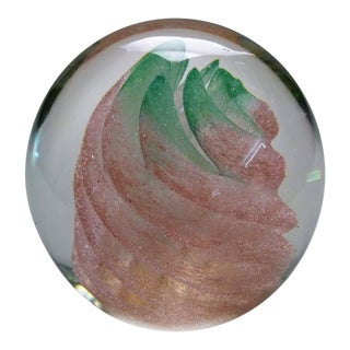"""20th Century Nourot Glass Peach Paperweight - 3"""" For Sale"""