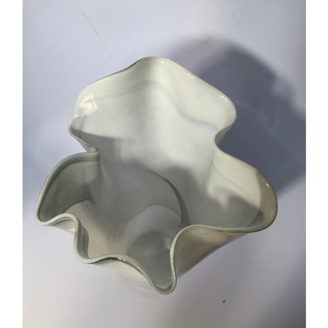 1990s Hand-Blown Polish Glass Handkerchief Vase For Sale - Image 5 of 8