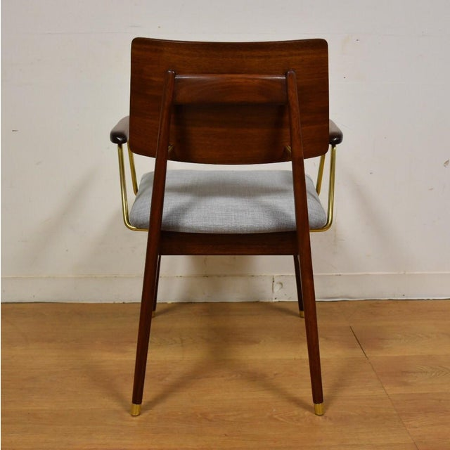 Walnut & Brass Occasional Chair - Image 7 of 11