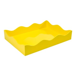 Rita Konig Collection Large Belles Rives Tray in Citron Yellow For Sale