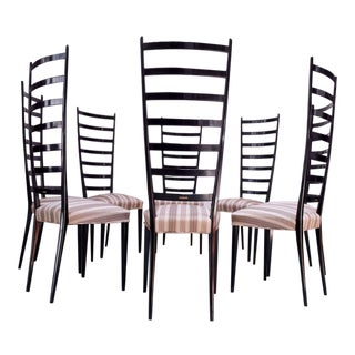 Set of Eight Ebonized Midcentury Italian Modern Tall Ladder Back Dining Chairs For Sale