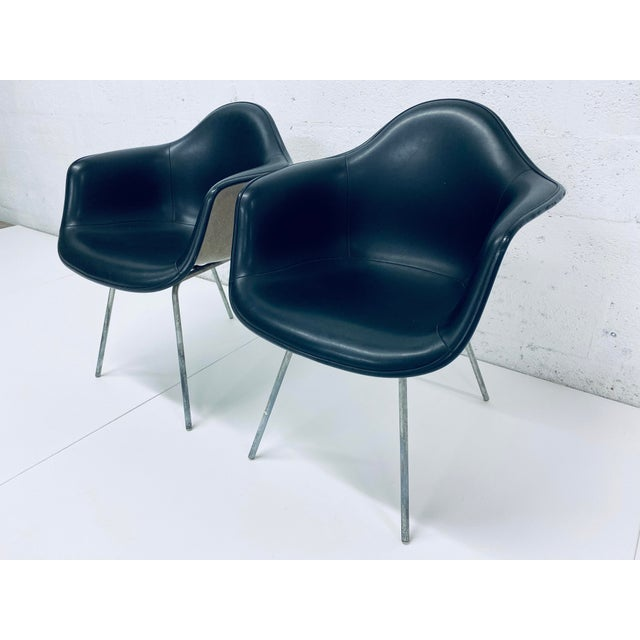 Mid-Century Modern Herman Miller Black Leather Arm Chairs by Charles and Ray Eames, 1950 - a Pair For Sale - Image 3 of 12
