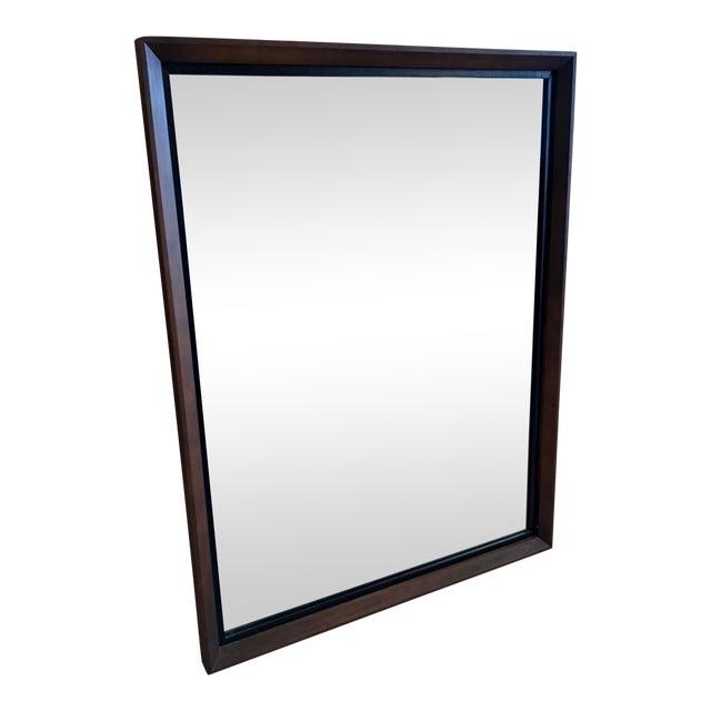 Bassett Mid-Century Black & Walnut Mirror For Sale