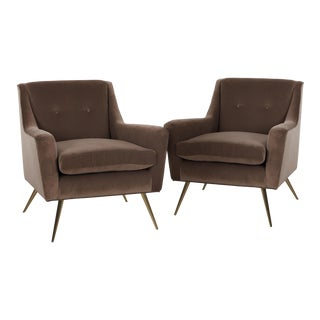 Tan Doeskin Cotton Velvet Upholstered Chairs With Brass Legs - a Pair For Sale