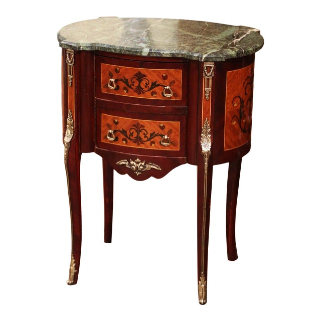 20th Century French Louis XV Walnut Commode Chest of Drawers With Marble Top For Sale