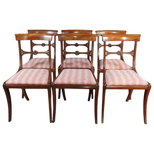 Early 19th Century Vintage English Regency Mahogany Side Chair- Set of 6 For Sale