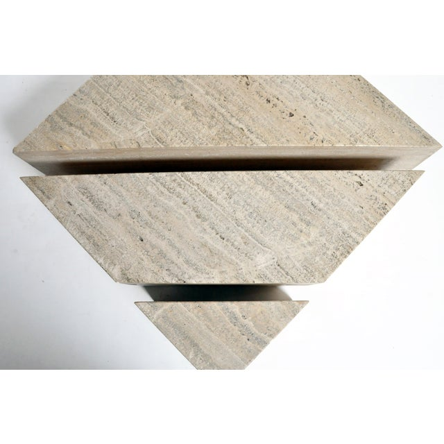 Italian Travertine Marble Three-Part Polygon Coffee Table For Sale - Image 4 of 13