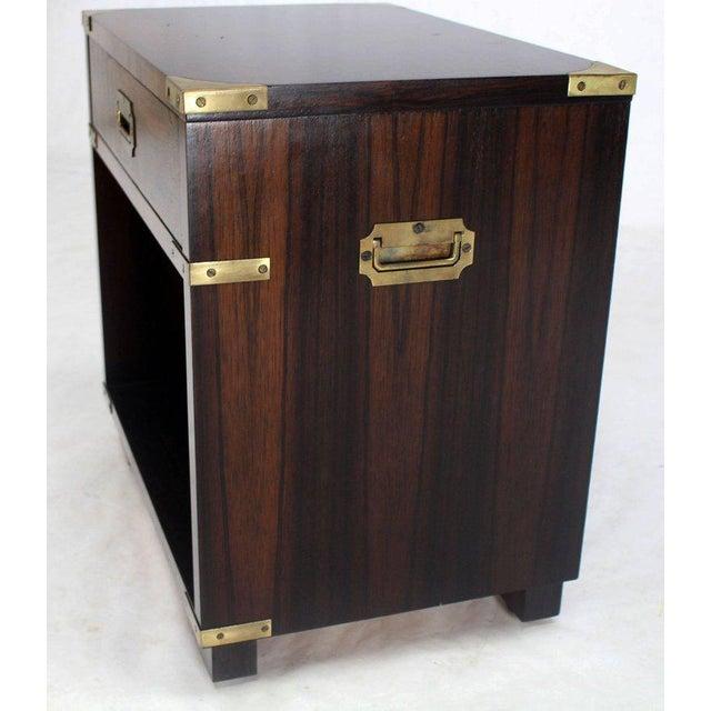 John Stuart Rosewood Brass Campaign End Table Nighstand Cabinet John Stuart For Sale - Image 4 of 8