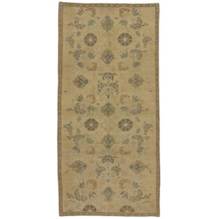 Vintage Turkish Oushak Gallery Rug with Muted Colors and Casual Elegance