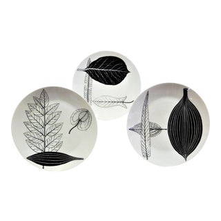 1950s Mid-Century Fornasetti Italy Black and White Foliage or Foglie Plates - Set of 3 For Sale