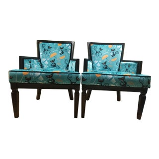 "1960s Pair Mid Century Arm Chairs With Atomic Retro ""1950s Cats and Cocktails "" Pattern For Sale"