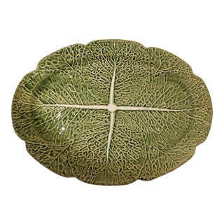 Secla Portugal Green Oval Cabbage Leaf Majolica Platter