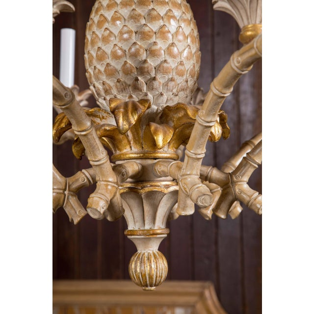 Italian Carved Wood Pineapple Chandelier For Sale In New York - Image 6 of 9