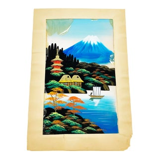 Hand Painted Vintage Mid Century Painting on Silk of a Mount Fuji Landscape Scene, From Japan For Sale