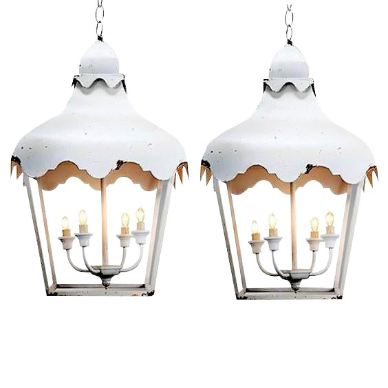 White Chinoiserie Brighton Pagoda Style Tole Lanterns - a Pair For Sale - Image 8 of 8