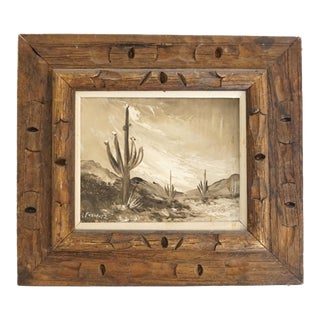 Vintage Mid-Century Southwestern Sonoran Desert Grisaille Painting For Sale