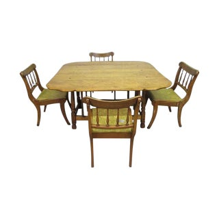 Large Rock Maple Dining Table With Chairs Set For Sale