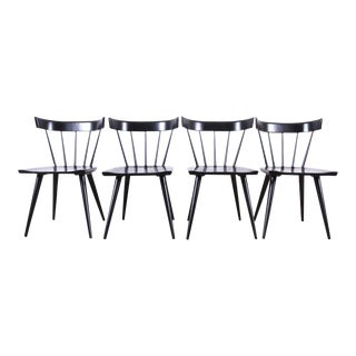 Paul McCobb Planner Group Mid-Century Modern Black Lacquered Spindle Back Dining Chairs - Set of 4 For Sale