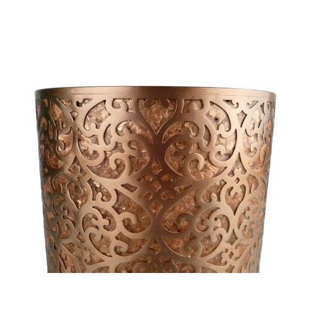 Decorative Capiz Shell & Metal Wastebasket - Image 4 of 9