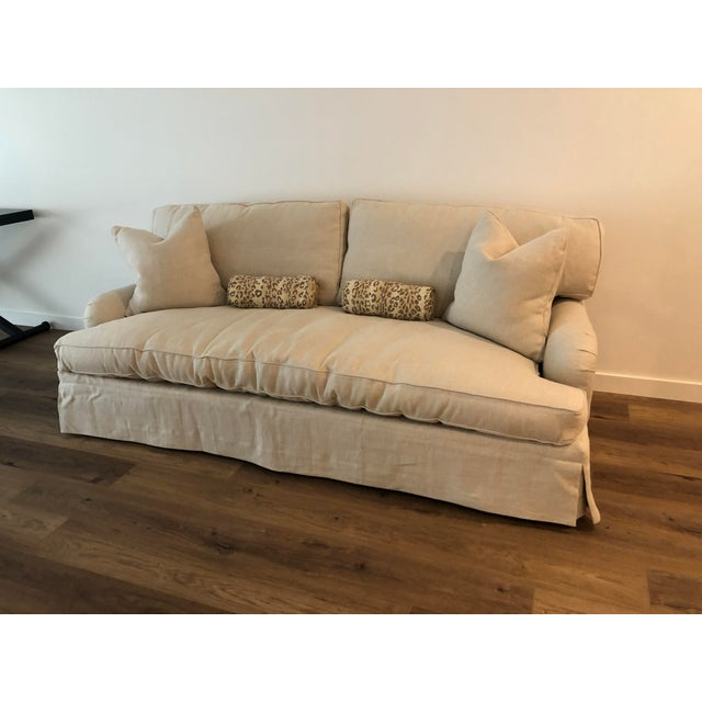 Upgraded Lee Industries 7066-03 sofa. Bench cushion and down fill with Belgian linen upholstery. USED LESS THAN ONE MONTH...