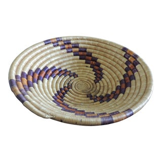 Woven Coil Round Orange and Purple Basket For Sale