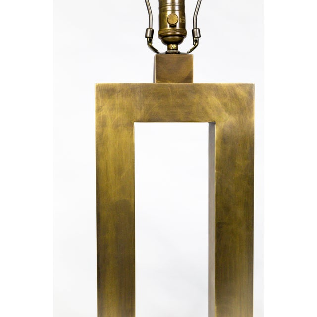 Gold 1970s Rectangular Antiqued Brass Table Lamps - a Pair For Sale - Image 8 of 11