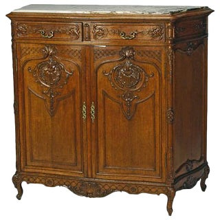 French Louis XV Style Carved Oak Cabinet, 19th Century For Sale