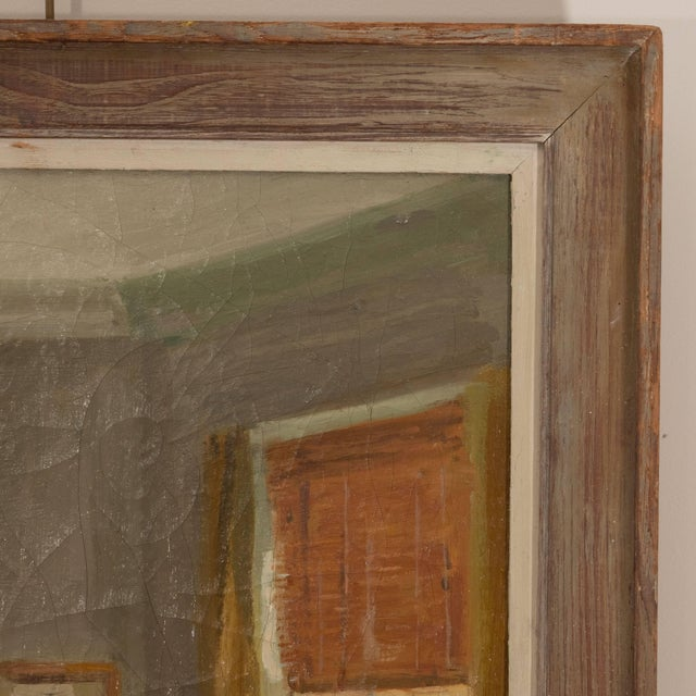 1960s Framed Oil Painting of an Interior For Sale - Image 5 of 11