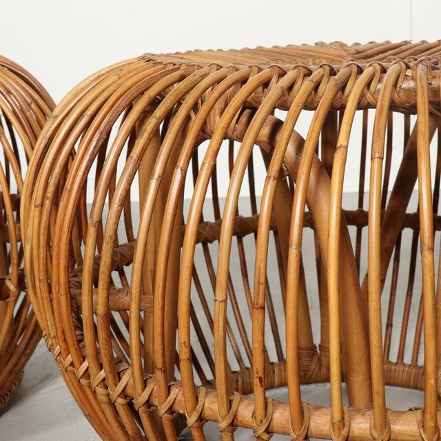 Wicker Pair, Mid Century Franco Albini Stools, Side Tables For Sale - Image 7 of 9