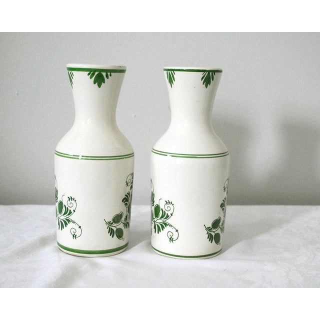 Delft 1970s Shabby Chic Delft Green Carafes - a Pair For Sale - Image 4 of 9