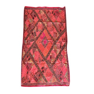 Mogul Authentic Vintage Tapestry Red Banjara Tribal Wall Hanging For Sale