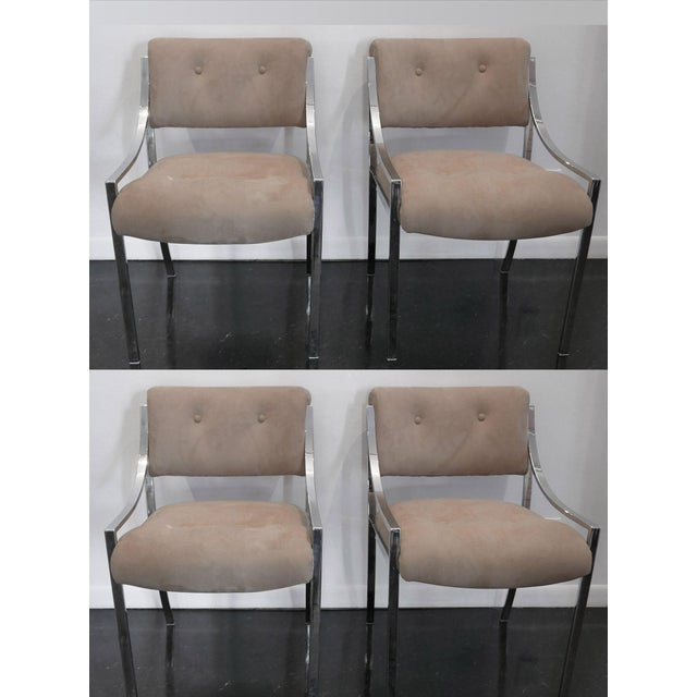 1970s 4 Milo Baughman Reupholstered Ultra Suede Dining Chairs For Sale - Image 5 of 6