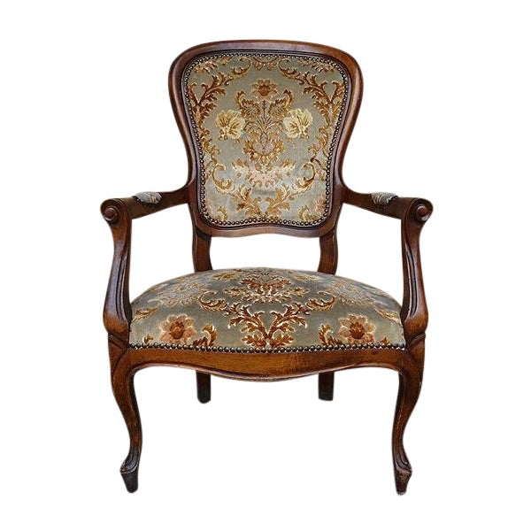 Antique Elegant French Louis XV Style Original Floral Upholstery Walnut Armchair For Sale