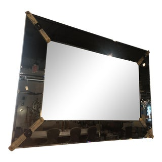 Beveled Fume Venetian Glass Mirror with Handblown Rosettes For Sale