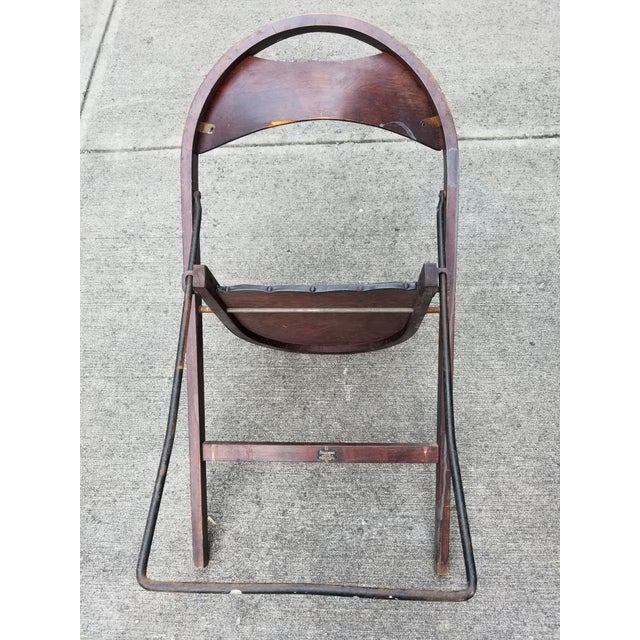 Stakmore Folding Chairs Vintage.Antique Stakmore Folding Wooden Leather Chairs Set Of 4