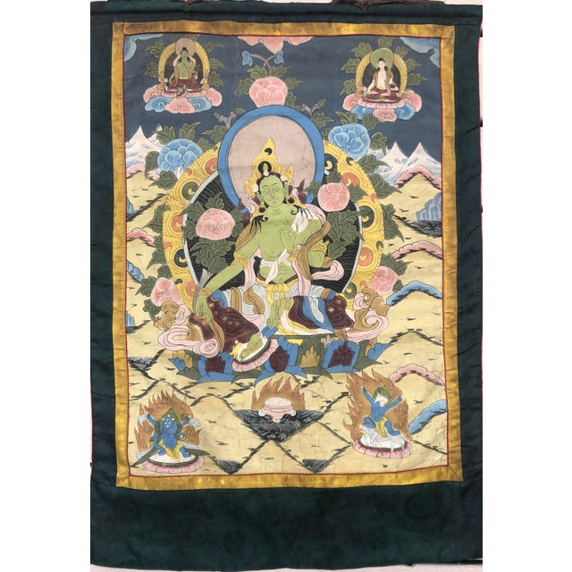 Paint Vintage Buddhist Tibetan Thangka Hand Painted For Sale - Image 7 of 8
