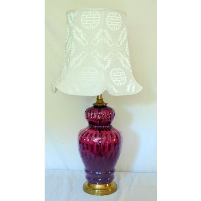 Mid-Century Amethyst Glass Table Lamp - Image 4 of 6