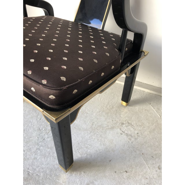 "1980s Asian Style Black Lacquer ""Hickory"" Arm Chair For Sale - Image 5 of 12"