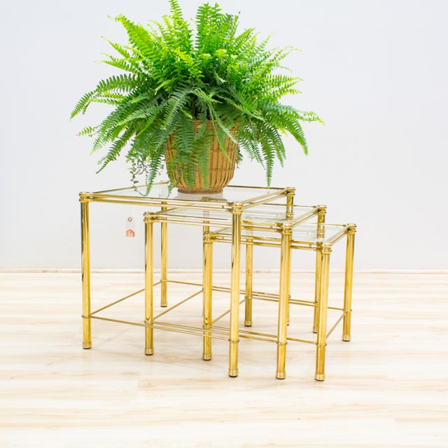 Italian Brass & Glass Nesting Tables - Set of 3 - Image 8 of 11