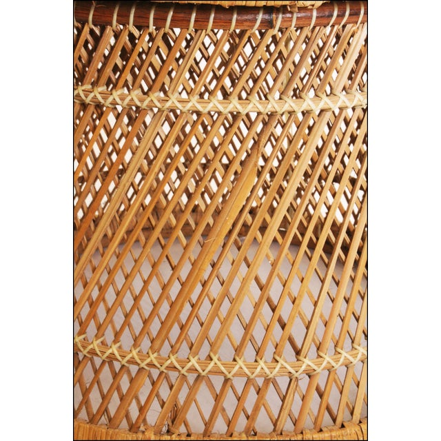 Vintage Boho Chic Wicker Barrel Chair For Sale - Image 10 of 11
