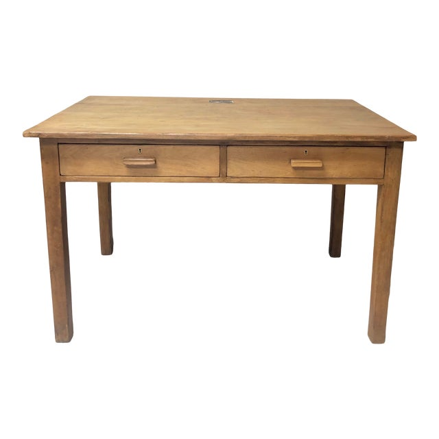 Antique Country Farm Table / Desk With Two Drawers For Sale