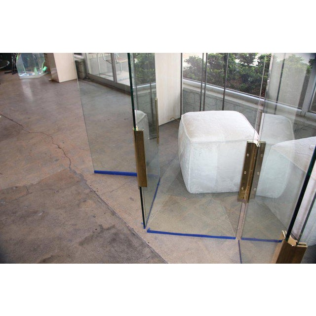 Gold Five-Panel Glass and Brass Hinge Room Divider For Sale - Image 8 of 13