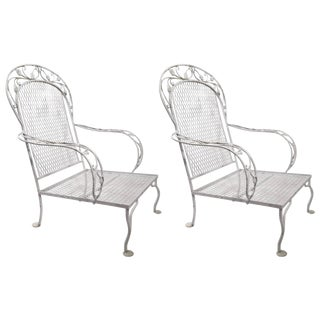 Pair of Iron Garden Patio Lounge Chairs Attributed to Woodard For Sale