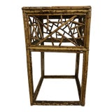 Image of 1970s Boho Chic Bamboo and Rattan Side Table For Sale