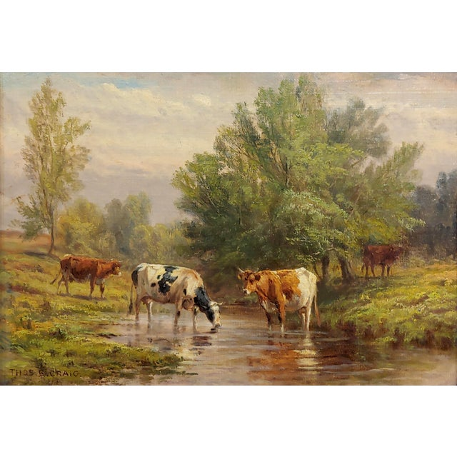 American Thomas Craig -Cows Grazing by Water Under a Summer Sky-Oil Painting For Sale - Image 3 of 11